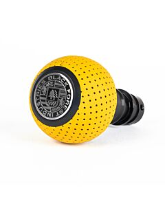 BFI DSG/Auto Heavy Weight Shift Knob - Giallo Taurus Yellow Perforated Leather - Schwarz