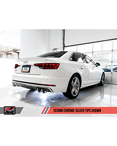 AWE Tuning Audi B9 S4 Track Edition Exhaust - Non-Resonated - Silver 90mm Tips