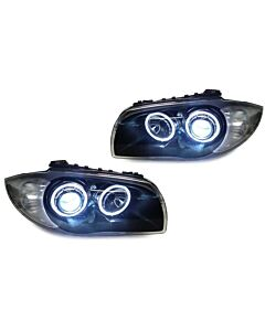 DEPO BMW E82 / E88 PROJECTOR XENON HEADLIGHTS WITH V2 ANGEL EYES