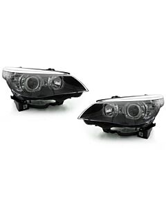 DEPO BMW E60 04-10 PROJECTOR HEADLIGHTS WITH V3 F30 STYLE ANGEL EYES