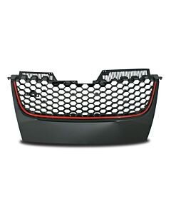 Grille without emblem Honeycomb Grille in Black with Red Border Suitable for VW Golf Jetta GTI MK5