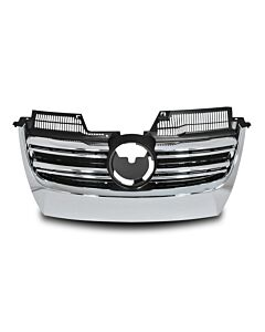 Grille with double rib, black / chrome fits VW Golf Jetta GTI MK5