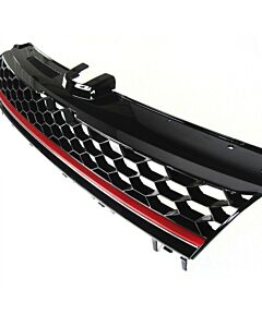 Grille without emblem, black honeycomb grille with red strip fits VW Golf MK7 from year 2015+